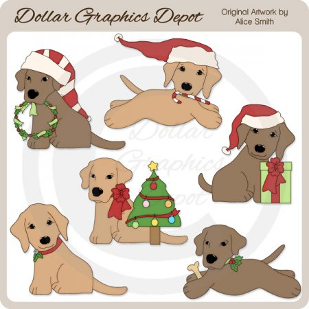 Christmas Lab Pups - Clip Art - *DGD Exclusive*