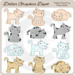 Cute Cats - Clip Art