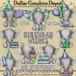 Baby Elephant - Birthday Boys - Clip Art