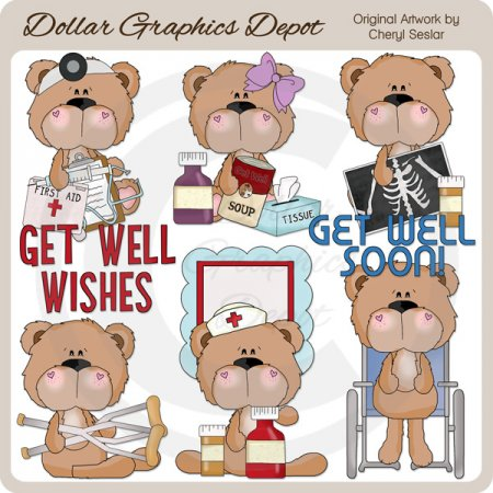 BoBo and Babs Bears Get Well - Clip Art