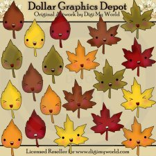 Kawaii Fall Leaves - Clip Art