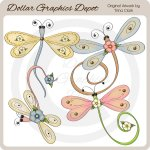 Pretty Dragonflies - Clip Art