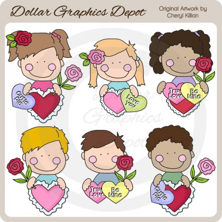 Valentine Kids Peekers - Clip Art