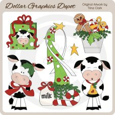 Christmas Cows - Clip Art