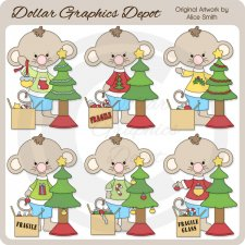 Christmas Time Mouse - Clip Art