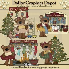 Christmas Home Bears - Clip Art - *DGD Exclusive*