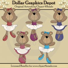 Ballerina Bears - Clip Art - *DGD Exclusive*