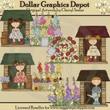 Flower Garden Potting Sheds - Clip Art - *DGD Exclusive*