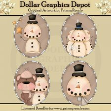 Frosty Friends 1 - Ovals - Clip Art