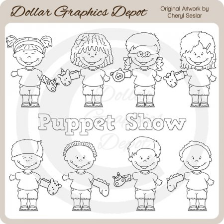 Puppet Show Kids - Digital Stamps
