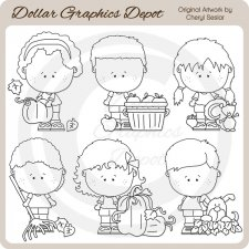 Autumn Munchkins - Digital Stamps