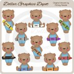 Crayon Bears - Boys - Clip Art - *DGD Exclusive*