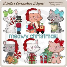 Scruffy Cat - Christmas - Clip Art