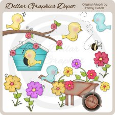 Birds and Flowers - Clip Art