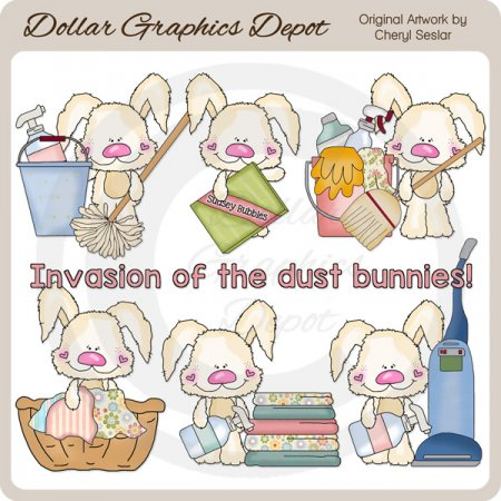Scruffy Dust Bunnies - Clip Art