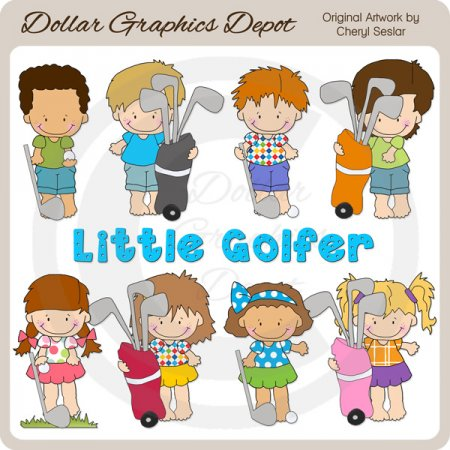 Little Golfer Kids - Clip Art