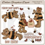 Valentine Bumble Bears - Clip Art