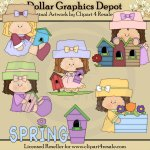 Spring Birdhouses - Clip Art - *DGD Exclusive*