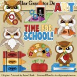 Back to School Owls - Clip Art