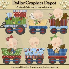 Christmas Baby Train - Clip Art