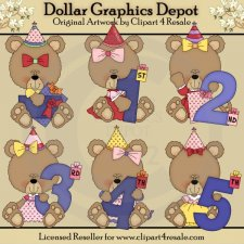 Birthday Year Bears - Girls - Clip Art