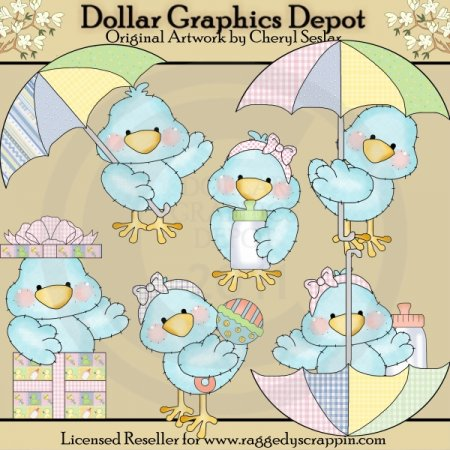 Tiny Tweets - Baby Shower - Clip Art