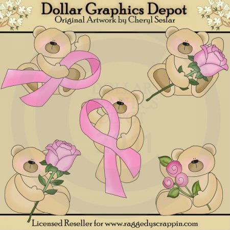 Breast Cancer Bears - Clip Art