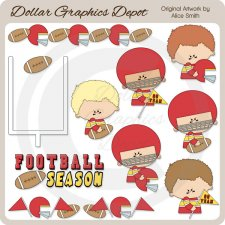 Football - Red - Clip Art