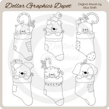 Christmas Stocking Pets - Digital Stamps - *DCS Exclusive*
