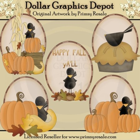 Fall Crows - Ovals - Clip Art