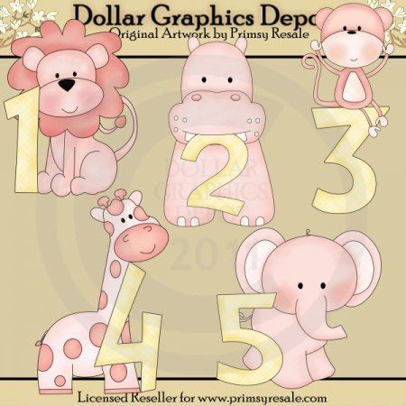 Jungle Baby Girl Numbers - Clip Art