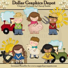 Kids On The Farm - Clip Art