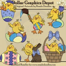 Little Easter Chicks - Clip Art