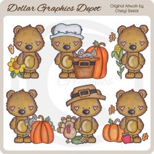 Little Brown Bears - Fall Blessings - Clip Art