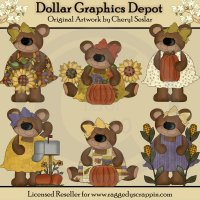 Autumn Bears - Clip Art - *DCS Exclusive*