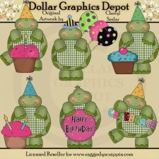 Gingham Turtles - Birthday - Clip Art