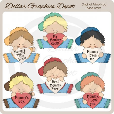 I Love Mommy - Boys - Clip Art - *DGD Exclusive*
