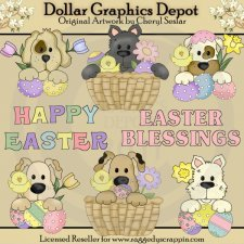 Puppy Peekers - Easter - Clip Art