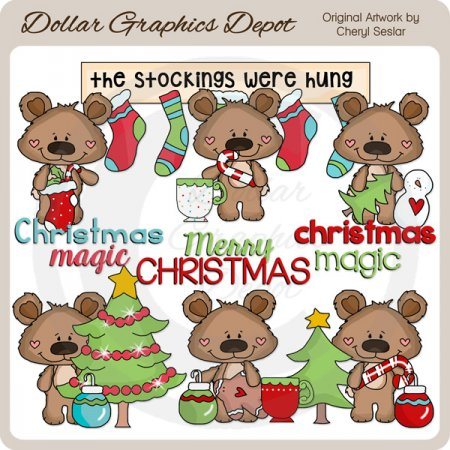 Boppy Bear - Christmas Magic - Clip Art