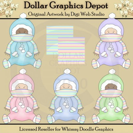 Bundled Up Babies - Clip Art