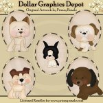 Dogs 1 - Ovals - Clip Art