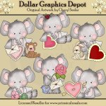 Elephant and Friends - Valentines - Clip Art
