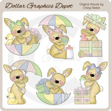 Raggedy Bunnies - Baby Shower - Clip Art