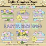 Pretty Easter Bowls - Clip Art