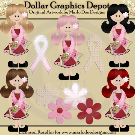 Breast Cancer Awareness Girls - Clip Art