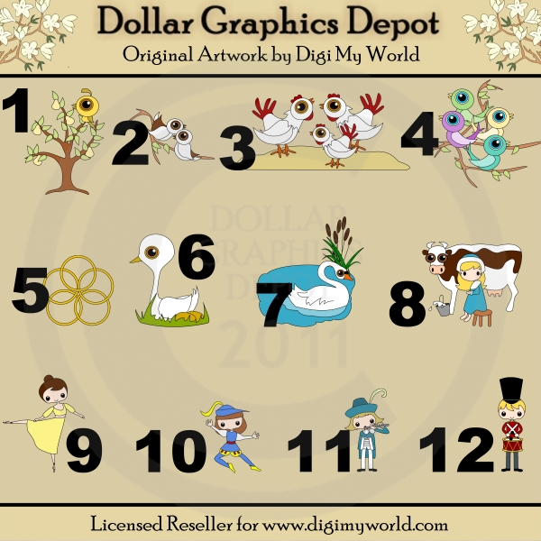 12 Days of Christmas - Clip Art by Digi My World - Dollar Graphics ...