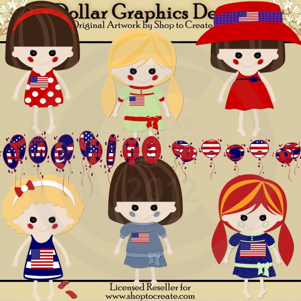 American Dolls - 4th of July - Clip Art - Click Image to Close