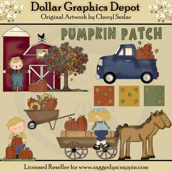 At The Pumpkin Patch - Clip Art - *DGD Exclusive* - Click Image to Close