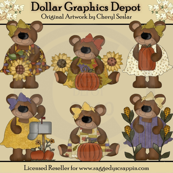 Autumn Bears - Clip Art - *DGD Exclusive* - Click Image to Close