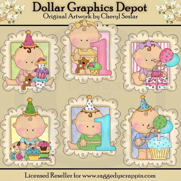 Baby\'s First Birthday Doodle Frames - Clip Art - $1.00 : Dollar ...